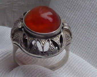 Antique Silver Art Déco ring with Carnelian gemstone