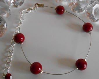 Simplicity wedding bracelet Burgundy pearls
