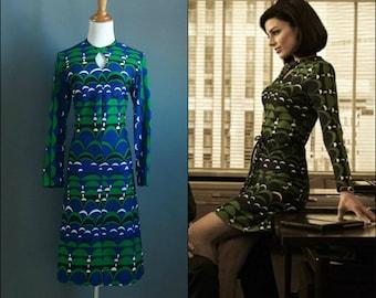 original 1960s mod megan draper geometric print dress like promo photos and banana republic line moon print dress