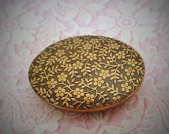 "Ready to Fill (Empty) Mini Solid Perfume Compact, Antique Brass Finish, 44mm x 33mm, with Refillable Pan  -- ""Renee""  #2133"