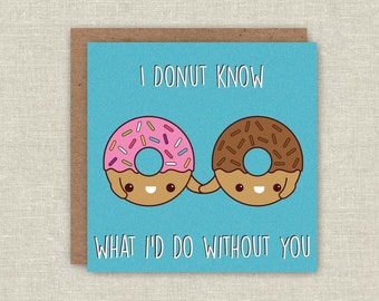 Mothers Day Card Donut Greeting Card Mother's Day Doughnut Card Blank Card Love Card Anniversary Card Note Card Friendship Card I Love You
