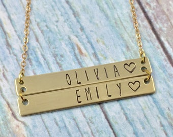 Brass Personalized Double Bar Necklace, Two Nameplate Necklace, Hand Stamped Bar Necklace, Double Name Plate Necklace, Two Bars Necklace