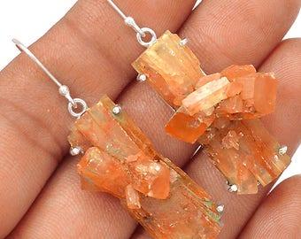"""Aragonite Star Cluster Earrings. 2"""" long. 7237"""