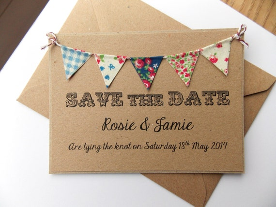 Summer Wedding Invitations: Items Similar To Save The Date Fabric Bunting Wedding