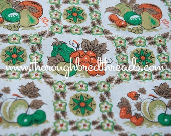 Kitschy Kitchen - New Old Stock Vintage Fabric Mod Novelty 60s 50s 35 in wide Stylized Fruit