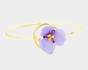 Flower Hook Bracelet Gold/Lavender