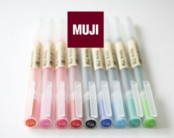 FREE SHIPPING GENUINE Muji Gel Ink Ballpoint Pen 0.38/0.5mm set of 9 colors MoMA, Muji Pen, Muji,