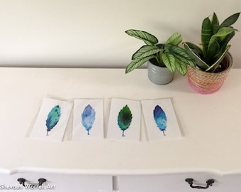 Original watercolour feather paintings. Blue, teal, turquoise. Home art. Wall art. 4x6 inches.