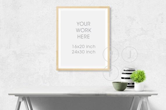 frame mockup 16x20 24x30 poster frame mockup white desk