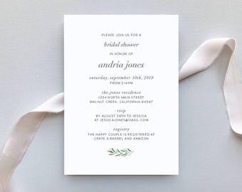 Bridal Shower or Baby Shower Invitation / Olive Branch Invitation Suite / #1143