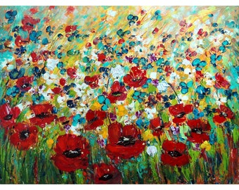 Large Flowers Painting Poppies Tulips Wildflowers Snowdrops Abstract Artwork 48x36 Ready to Ship