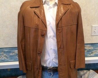 Leather Leisure Jacket - 1970s - Mens - Medium 42R - Honey - Startown - Great Autumn Coat - Faux Fur Lining