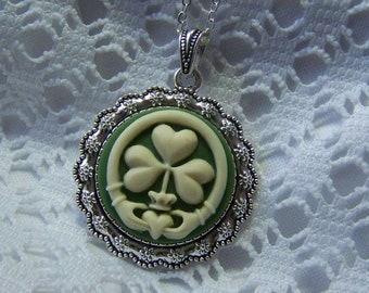 Claddagh and Clover Pendant, Irish Heritage, Celtic Irish Wedding Love, Friendship, Ireland St. Patrick's Day, Green & Ivory cameo necklace