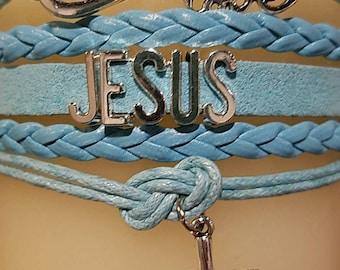 Jesus Blue Layered Charm Bracelet
