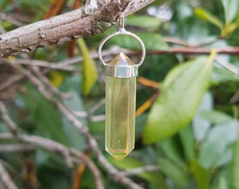NEW! Citrine Aura - Double Terminated Point Pendant - Set in Sterling Silver