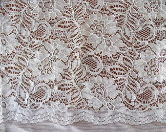 Scalloped edge lace fabric, off white