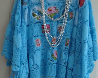 Beautiful Turquoise Vintage Cotton Crochet Lace Dyed Floral Bird Layering Lace Poncho Cape