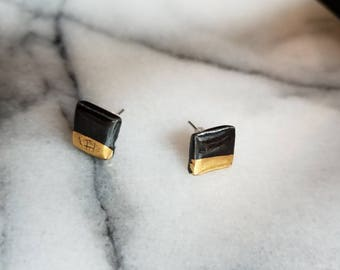Square earrings, gold dipped earrings, black earrings, porcelain earrings, ceramic earrings, square studs, porcelain jewelry, black studs