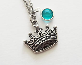 Crown Necklace, Princess Necklace, Daughter, Girl, BFF Friend Gift, Birthday Gift, Silver Jewelry, Swarovski Channel Crystal Birthstone