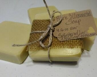 Organic Unscented Bar Soap/Soap Samples/Handmade Soap/Olive Oil  Soap/Plain Soap/Bastille Soap/Cold Process Soap/Vegan Soap/Natural/Gift