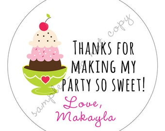 Personalized- Ice Cream Cone Birthday Party Thank You Stickers, Tags, LabelsPrinted & Shipped or DIY