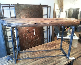 Salvaged wood from Lake Michigan console table