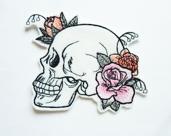 patch fusible floral skull