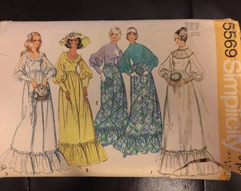70's Wedding dress, bridesmaid dress pattern, uncut Simplicity 5569 Size 12 bust 34