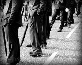 Black and White Photography - Men's Legs Fine Art Photograph - Belfast Orange Parade - Men in Suits - 8x10