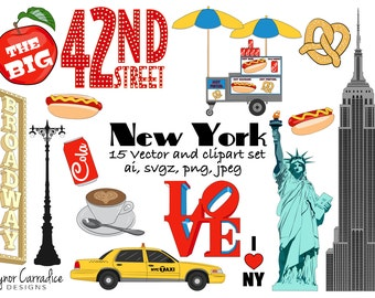 New York clipart NY clip art City graphics big apple vectors planner clipart travel planner stickers commercial use America pngs icons