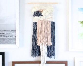 Blush & Denim Handwoven Tapestry