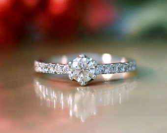 Diamond Engagement Ring | 0.75CT Diamonds | Solid 14K White Gold | Diamond Ring | Affordable Wedding Ring | Fine Jewelry | Free Shipping