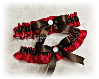 Apple red and chocolate brown weddings bridal garter set, satin prom garters.