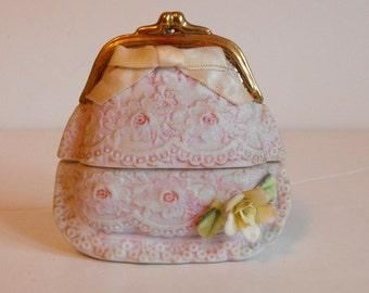 Pink Ceramic Purse Trinket Box (1112)