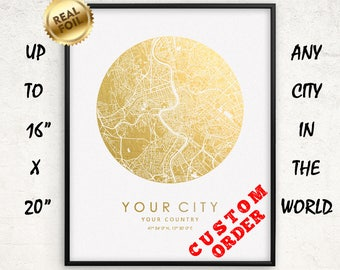 """Custom City Map Gold & Silver Foil Print Personalized Large up to 16""""x20"""" Wall Art Poster Home Office Decor Anniversary Gifts GoldenGraphy"""