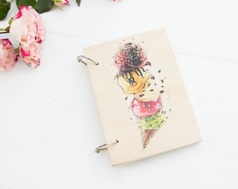 Wood Notebook, Wood Notepad, Ice Cream Journal, A6 Journal, Gift For Her, Sketchbook, Custom Journal