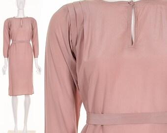 70's Lavender Minimalist Silk Shift Dress