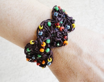 Handmade Crocheted Brown Hemp Bracelet with Multi-colored Beads By Distinctly Daisy