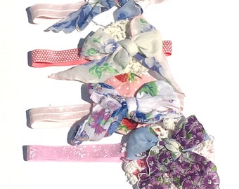 Hankie Babies -- headband, vintage hankies, lace, tablecloths, table runners, vintage scrap fabric Molly style Made to Order Wholesale Avail