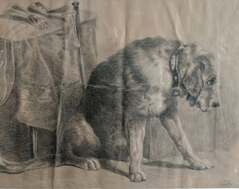 The Naughty Dog, graphite drawing late 19th or early 20th century, signed