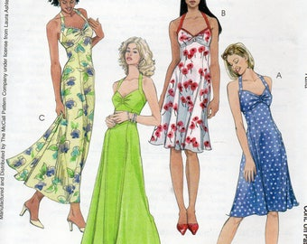 Get Ready for Summer McCall's LAURA ASHLEY Pattern 4444 Halter SUNDRESSES Misses Sizes 8 10 12 14