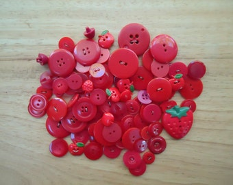Lot of 85 Assorted Red Buttons