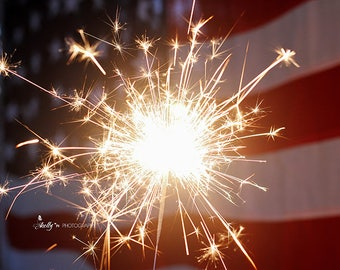 Sparkler Photography, 4th of July, Independence Day Wall Art, Fireworks Photo, American Flag Print, Farmhouse Decor, American Decor