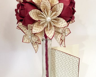 Love Dozen w/ Red Roses- Free US Shipping, Vase & Card Included, 12 paper flowers, 1st wedding anniversary, gifts for her
