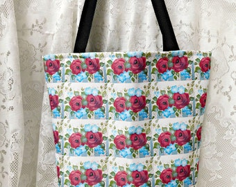 Summer Garden Large Designer Tote, Hand Painted Original Design, Beach Bag, Book Bag, Summer Purse, Carry All, ECS