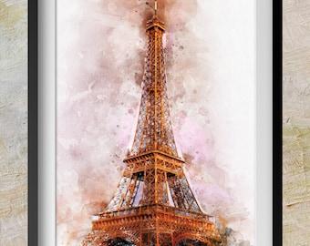 Eiffel Tower Paris Watercolor Print - Eiffel Tower Art - wall art Paris Print - Modern Nursery Decor - watercolor decor - home decor