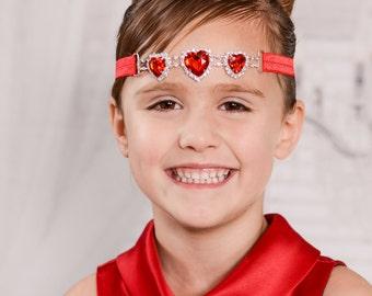 Red Rhinestone Headband, Red Heart Headband, Red Jewel Headband, Red Gem Headband, Valentines Day Headband, Red Headband, Heart Gem Headband