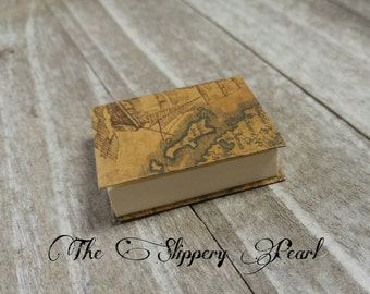 Miniature Book Charm REAL Pages Miniature Journal Pendant Pirate Map Journal Charm Book Pendant Librarian Charm Author Charm PREORDER