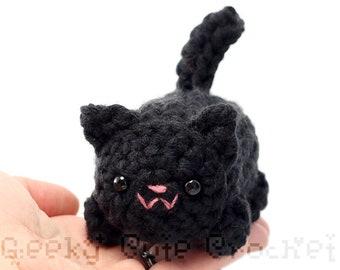 Large Black Kitty Cat Yama Amigurumi Plush Toy Crochet Stuffed Animal