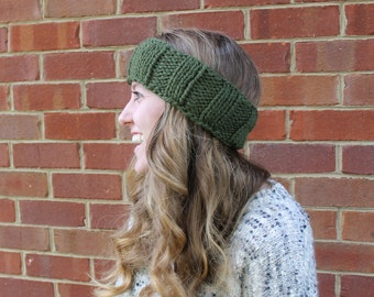 Knitted Headband, Chunky Forest Green Ear Warmer, Winter Accessories